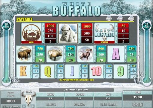 Таблица выплат в автомате White Buffalo