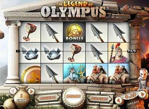 Призовая комбинация на линии в игровом автомате Legend of Olympus