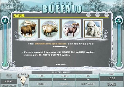 Особенности фриспинов в игре White Buffalo