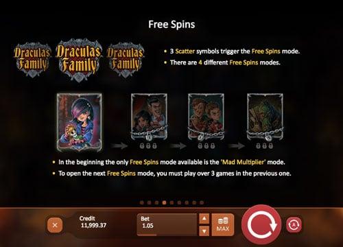 Фриспины в игровом аппарате Draculas Family
