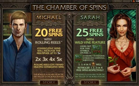Фриспины от Михаэля и Сары в игровом аппарате Immortal Romance