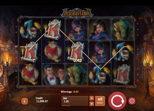 Призовая комбинация сомволов в игровом автомате Draculas Family