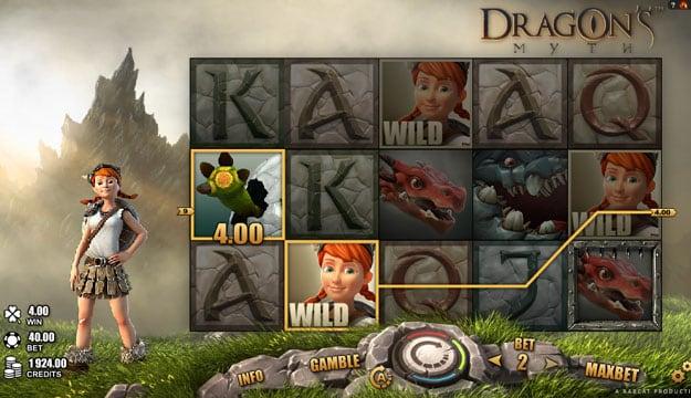Призовая комбинация с диким символом в игровом автомате Dragons Myth