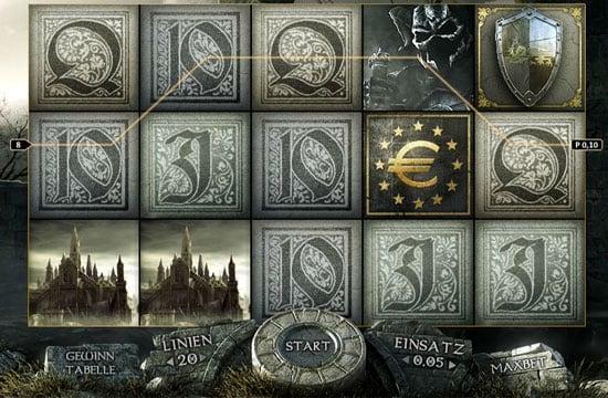 Призовая комбинация символов в игровом автомате Forsaken Kingdom