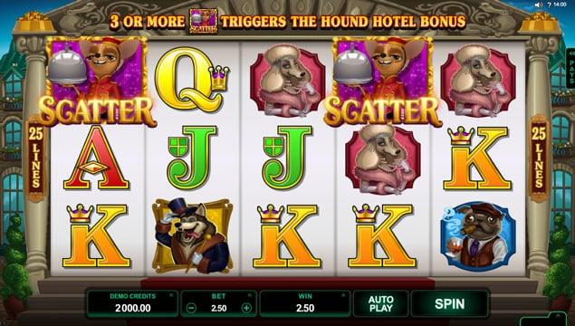 Призовая комбинаци со символами разброса в игровом автомате Hound Hotel
