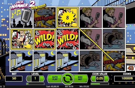 Призовая комбинация в игровом автомате Jack Hummer 2