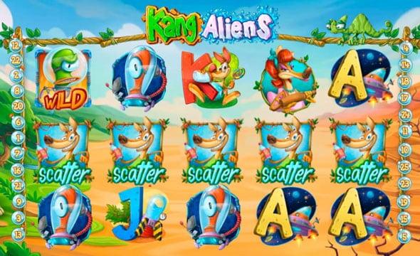 Призовая комбинация с символами разброса в игровом автомате Kang Aliens