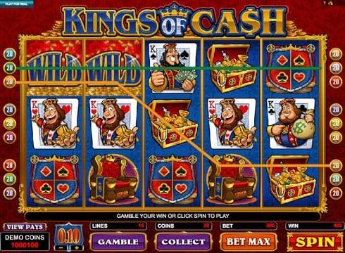 Призовая комбинация с диким знаком в игровом автомате Kings of Cash