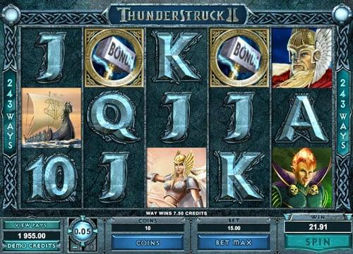 Бонусная комбинация для выплат в игровом автомате Thunderstruck 2