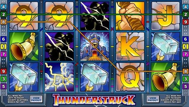 Призовая комбинация на линии в игровом автомате Thunderstruck