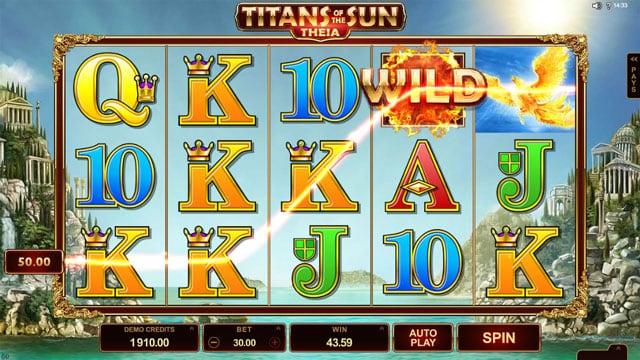 Игровой автомат Titans of the Sun Theia - призовая комбнация символов