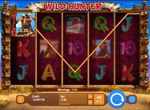 Призовая комбинация с выпадением Wild в игровом автомате Wild Hunter