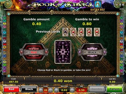 Риск-игра в онлайн автомате Book of Stars