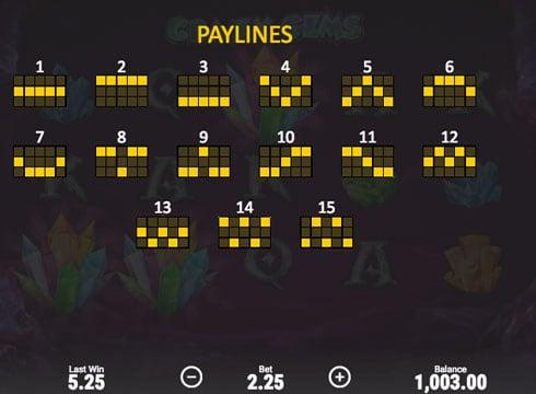Линии выплат в онлайн автомате Crazy Gems