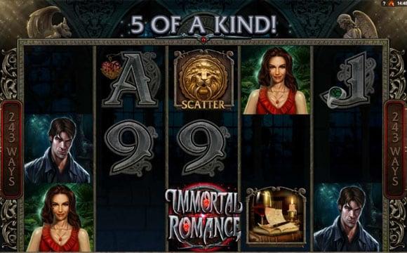 Выигрышная комбинация в онлайн автомате Immortal Romance