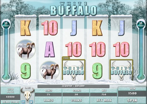 Выигрышная комбинация символов в онлайн автомате White Buffalo
