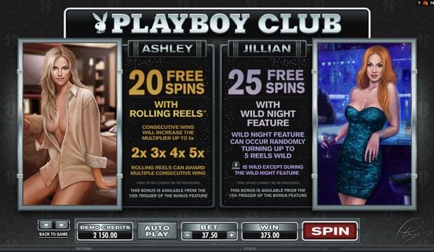 Фриспины от Эшли и Джилиан в слоте Playboy